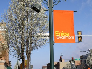 Downtown Sycamore, Illinois with Enjoy Sycamore banners on street lights