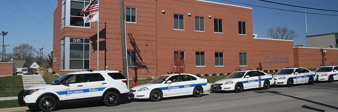 City of Sycamore Police station and police cars